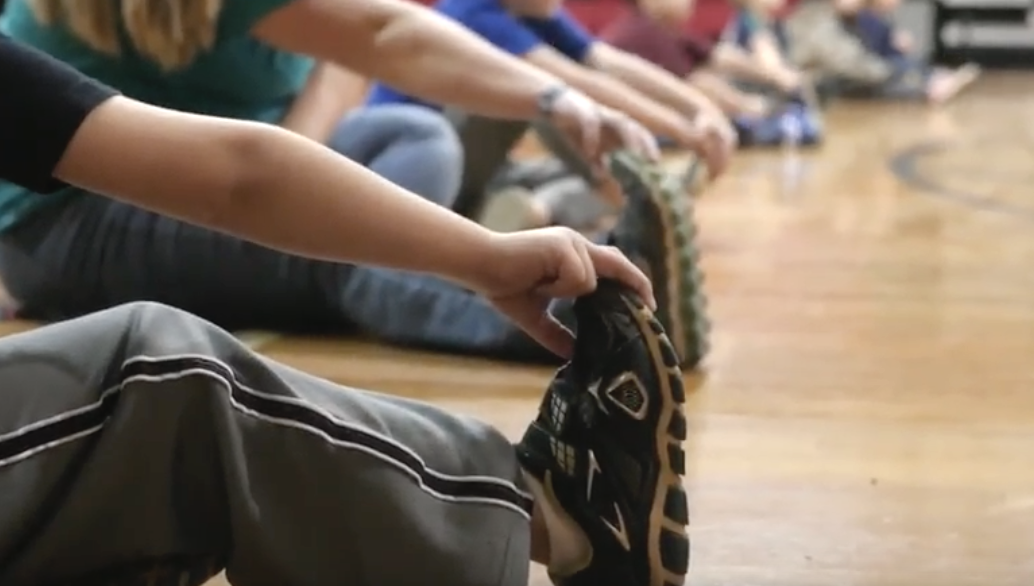 Hickman County kids touch their toes in gym class